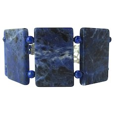 Blue Cuff Bracelet of Sodalite Sections – Tabular Stones with Lapis Lazuli Accents