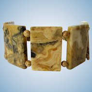 Crazy Lace Agate Cuff Bracelet created of Large Agate Tabular Sections