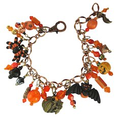 Halloween Charm Bracelet in Orange and Black with Gothic Charms and Crystals