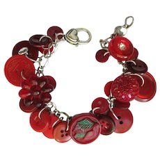 Charm Bracelet of Vintage Buttons with Red Wine Colors and Flower Buttons