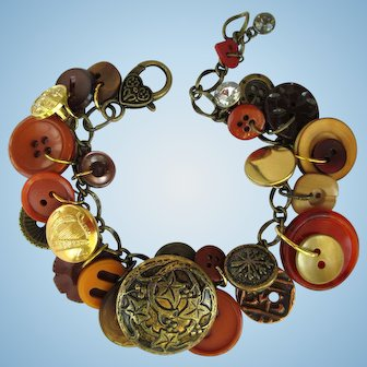 Charm Bracelet of Vintage Buttons in Fall Colors with Leaf and Vine Focal Button