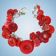 Charm Bracelet of Vintage Red Buttons in Brilliant Shades with Sparkling Accents