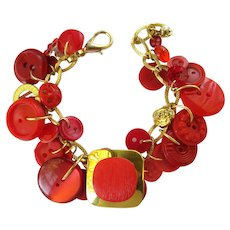 Charm Bracelet of Vivid Red Vintage Buttons with Large Square Button Focal