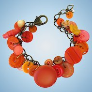 Charm Bracelet of Vintage Buttons in Shades of Orange