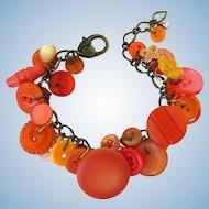 Charm Bracelet of Vintage Buttons in Shades of Orange