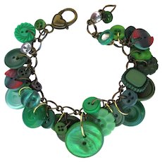Charm Bracelet of Vintage Green Buttons and Red and Green Plaid Buttons