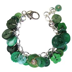 Charm Bracelet of Vintage Green Buttons with Rhinestone Accents