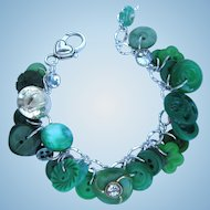 Charm Bracelet of Vintage Buttons in Green with Celtic Harp Button