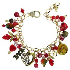 Hearts and Angels Charm Bracelet in Red and Gold Colors