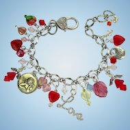 Charm Bracelet with Love Charms – Hearts – Swarovski Crystals