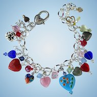 Charm Bracelet with Sparkling Crystals and Hearts of Many Colors