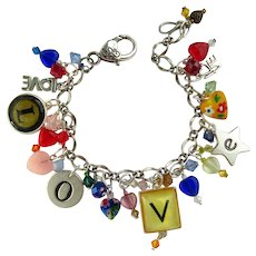 Sparkling Love Charm Bracelet with Letters which spell Love