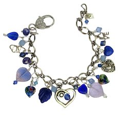 Heart Charm Bracelet in Blue and Silver Colors with Swarovski Crystals