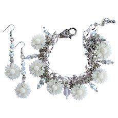 White Daisy Charm Bracelet with Crystals – Shimmering Leaves – Matching Earrings