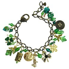 Lucky Charm Bracelet with Shamrocks – Celtic Harp Button – Angels – Swarovski Crystals