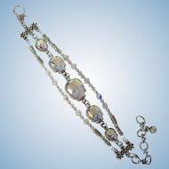 Three-Strand Bracelet of Swarovski Crystals with Spectacular Sparkle and Crystal Skulls