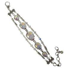 Bracelet of Swarovski Crystal Skulls – Three Strand – Spectacular Sparkle