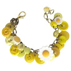 Charm Bracelet of Yellow Vintage Buttons with Flower Shapes and Daisy Button