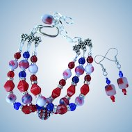 Three-Strand Red, White, and Blue Bracelet with Flag Beads and Matching Earrings