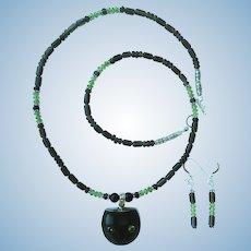 Black Cat with Peridot Eyes Pendant on Peridot and Smoky Quartz Necklace