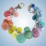 Charm Bracelet of Vintage Buttons in Pastel Shades
