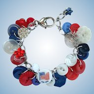 Red, White, and Blue Charm Bracelet of Vintage Buttons with Flag Button