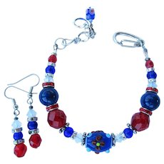 Red, White, and Blue Bracelet with Hand-Crafted Flower Bead – Matching Earrings
