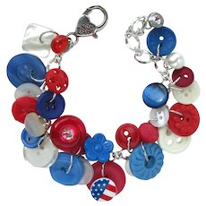 Charm Bracelet of Vintage Buttons in Red, White, and Blue Colors