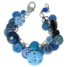 Charm Bracelet of Vintage Buttons in Shades of Blue