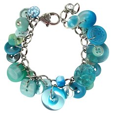 Charm Bracelet of Vintage Buttons in Shades of Turquoise and Aqua