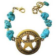 Tombstone Sheriff's Badge Bracelet with Turquoise Magnesite Nuggets