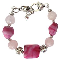 Bracelet of Rose Quartz and Crazy Lace Agate Nuggets in Pink and Fuchsia