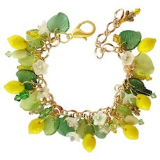Charm Bracelet of Lemons and Flowers with Swarovski Crystal Accents