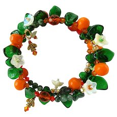Oranges and Flowers Wrap Bracelet with Green Leaves and Swarovski Crystals