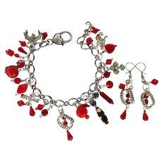 Vampire Charm Bracelet with Matching Vampire Earrings