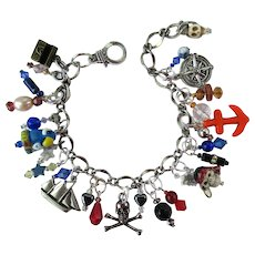 Pirate Charm Bracelet with Pirate Charms – Skulls – Parrot