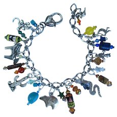 Southwestern Charm Bracelet with Sun Kachina – Zuni Bear – Kokopelli – Gemstones