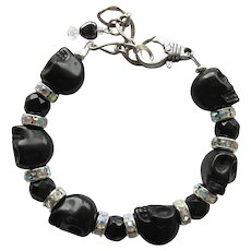 Black Skull Bracelet with Sparkling Rhinestones and Matching Earrings