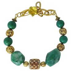 Green Crazy Lace Agate and Turquoise Bracelet with Filigreed Beads