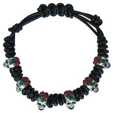 Black Leather Bracelet with Skulls and Red Roses