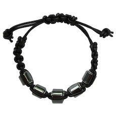 Men's Black Leather Bracelet with Hematite Beads size M/L
