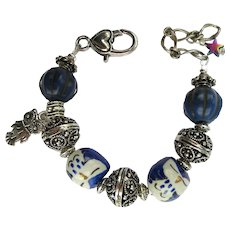 Owl Bracelet with Hand-Painted Owls in Blue and White