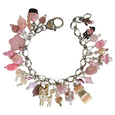 Bracelet with Pink Charms including Pink Convertible – Cupcake – Owl – Angel