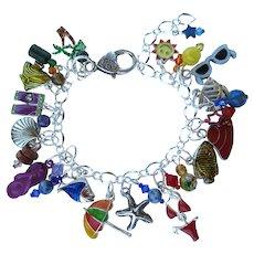 Beach Theme Charm Bracelet with Fun at the Beach Charms