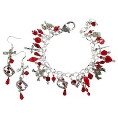 Charm Bracelet with Vampire Charms and Matching Bite Me Earrings