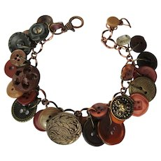 Charm Bracelet of Vintage Buttons in Fall Colors