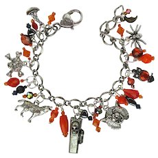 Charm Bracelet with Halloween Charms – Crystals – Casket that Opens – Matching Earrings