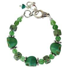 Bracelet of Kelly Green Skulls – Lampwork Confetti Beads – Sparkling Beads