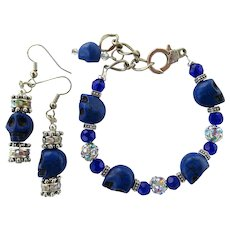 Bracelet of Blue Skulls and Rhinestone Balls with Matching Earrings