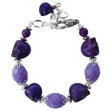 Bracelet of Purple Skulls and Vintage Lavender Beads
